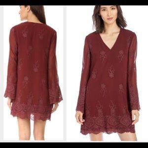 Wayf burgundy bell sleeve embroidered dress